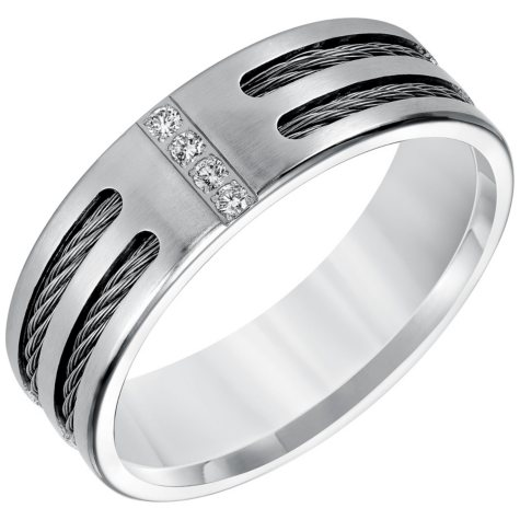 8mm Stainless Steel Diamond Band (H-I, I1)