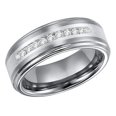 .23 CT. T.W. Tungsten & Silver Band (H-I,I1)