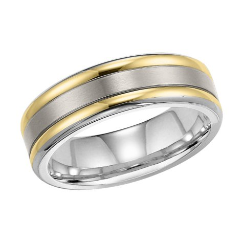 Titanium and 18K Gold 7mm Comfort-Fit Band
