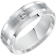 8mm White Tungsten and Diamond Comfort Fit Band