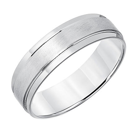 6mm Brushed Finish Wedding Band in 14K White Gold