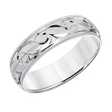 6mm Satin Finish Wedding Band with Milgrain Edge in 14K White Gold