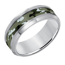 8mm Comfort Fit Camouflage Finish Tungsten Carbide Wedding Band