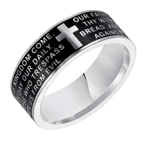 8mm Comfort Fit Gray and Black Wedding Band with Etched Prayer in Steel