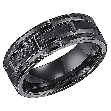 8mm Tungsten Carbide Comfort Fit Band with Vertical Satin Finish & Bright Edges and Cuts