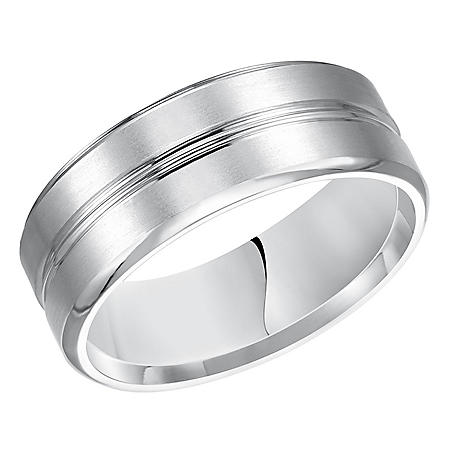 8mm 14K White Gold Beveled Comfort Fit Band with Brushed Finish