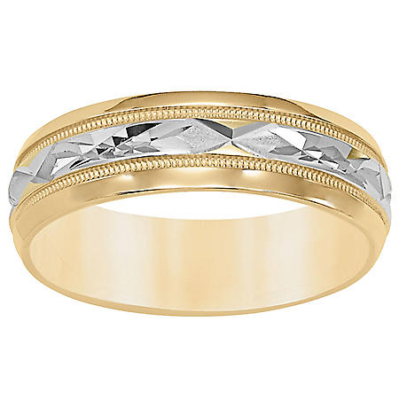6mm Comfort Fit Band with Polished Cut Design in 14K Two Tone Gold
