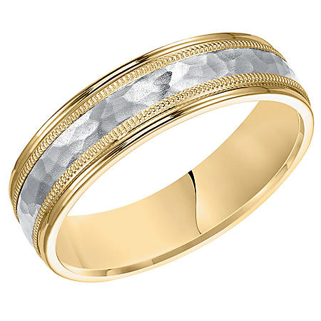 6mm Yellow & White Gold Comfort Fit Band with Hammered Finish and Milgrain Edges