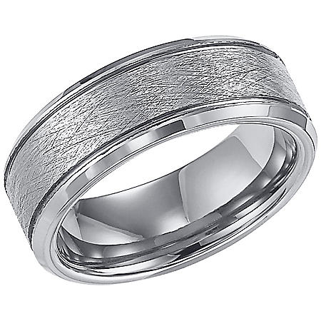 8mm Tungsten Carbide Comfort Fit Band with Brushed Finish