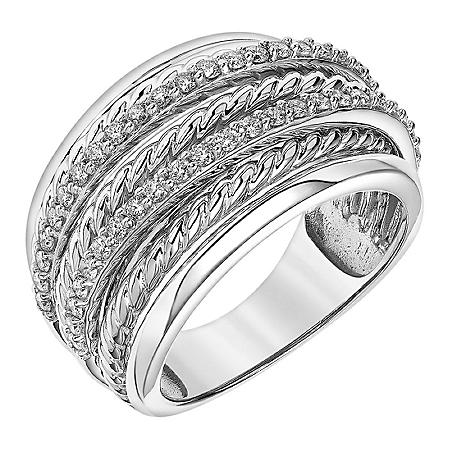 0.50 CT. T.W. 14K White Gold Texture and Diamond Stacked Band