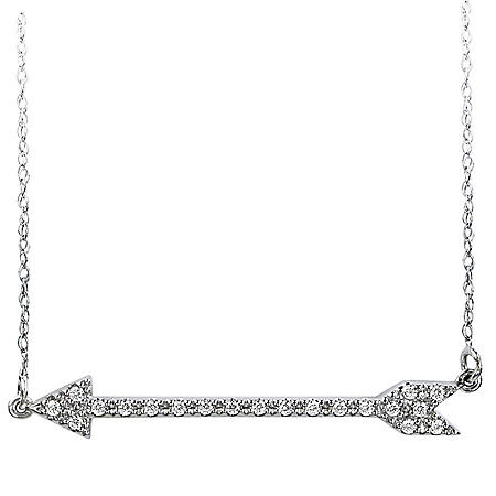 0.10 CT. T.W. 14K White Gold Diamond Arrow Pendant