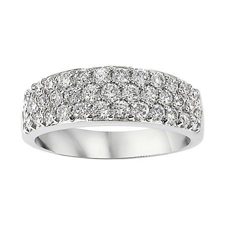 0.94 CT. T.W. Diamond Three Row Band in 14K White Gold (I-I1)