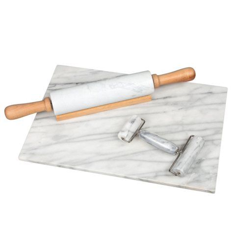 Creative Home Deluxe 4-Piece White Marble Baking Preperation Set