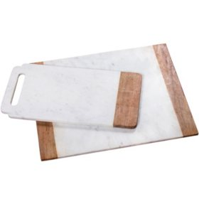 Marble and Mango Wood Serving Boards, Set of 2