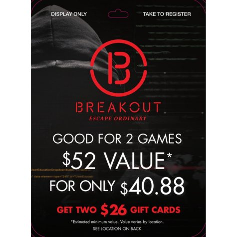 Breakout Games - 1 x $52 two-person entry