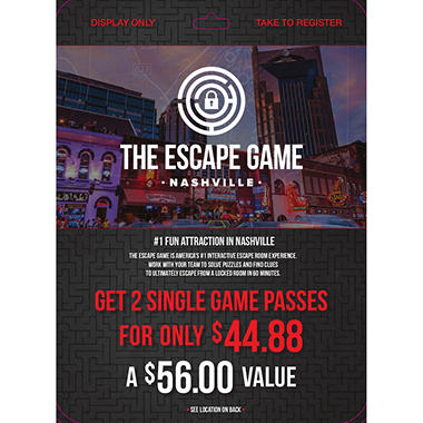 Escape Game - Nashville - 2 x $28