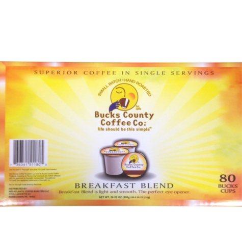 Bucks County Coffee Breakfast Blend, Single Serve (80 Ct.)