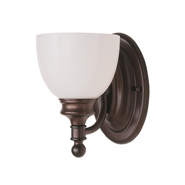 1-Light Rubbed Oil Bronze Bath Sconce