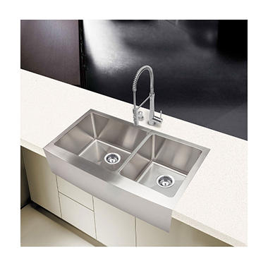 Medium image of stahl handmade   extra large 60 40 farmhouse kitchen sink