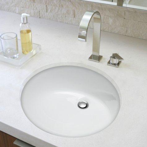 Stahl Ceramic Medium Undermount Oval Bowl - White
