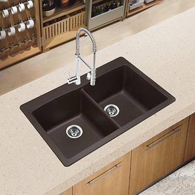 Blanco Diamond Equal Double Bowl Kitchen Sink   Café Brown