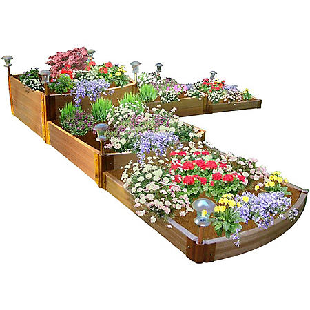 "Classic Sienna Raised Garden Bed Split Waterfall Tri-Level 12' x 12' x 22"" - 1"" Profile"