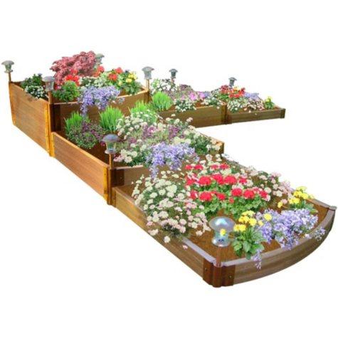 "Classic Sienna Raised Garden Bed Split Waterfall Tri-Level 12' x 12' x 22"" - 1"" Profile"
