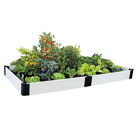 "Classic White Raised Garden Bed 4' x 8' x 8"" - 1"" Profile"