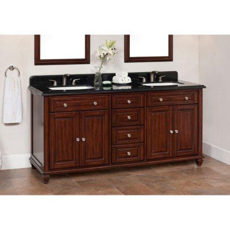 """Ely 72"""" Double Sink Vanity with Granite Top"""