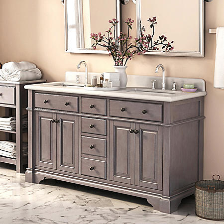 """Lanza 60"""" Double Sink Vanity with Marble Top"""