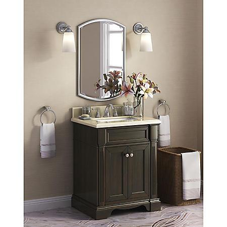 """Bryon 28"""" Single Sink Marble-Top Vanity with Backsplash"""