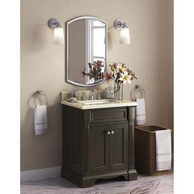 "Bryon 28"" Single Sink Marble-Top Vanity with Backsplash"