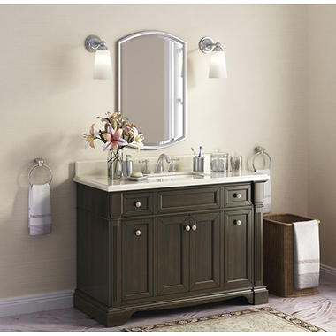 "Bryon 48"" Single Sink Marble-Top Vanity with Backsplash"