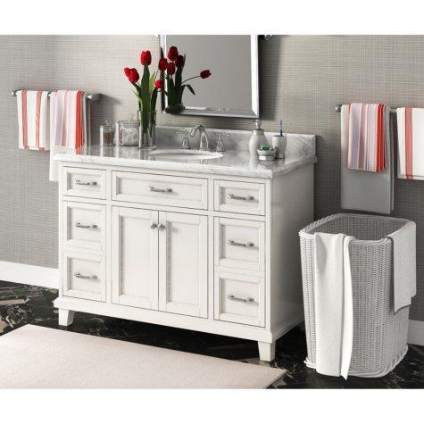 "Carolina 48"" Single Sink Marble-Top Vanity with Backsplash"