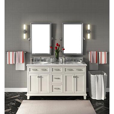 Carolina 60 Double Sink Marble Top Vanity With Backsplash