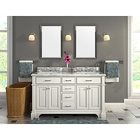 Nova 60 Double Sink Marble Top Vanity With Backsplash