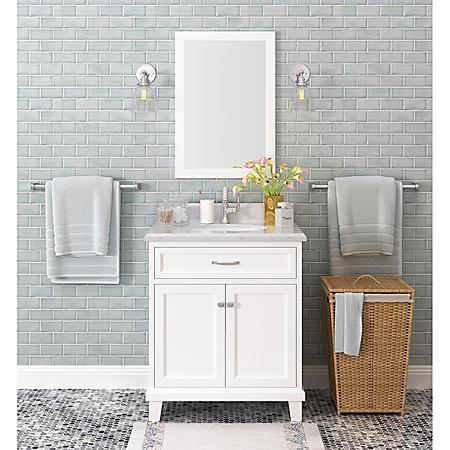 """Kenston 30"""" White Single Sink Vanity with Backsplash"""