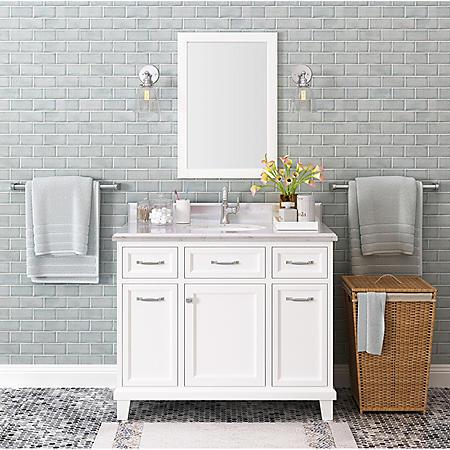 Kenston 42 Quot White Single Sink Vanity With Backsplash Sam
