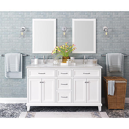 "Kenston 60"" White Double Sink Vanity with Backsplash"