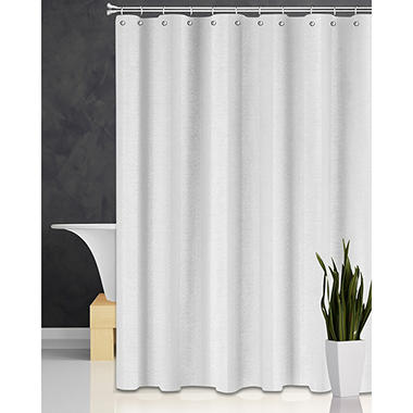 Wide Waffle-Stripe Shower Curtain, White