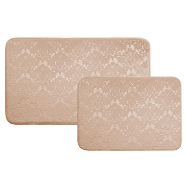 Medalion Design Memory Foam Rugs, Set of 2 (Assorted Colors)