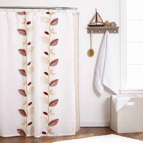 Alysia Ivory Shower Curtain, Leaf Design