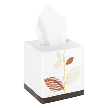 Alysia Ivory Tissue Box, Leaf Design