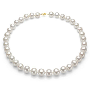 11.5-12.5mm White Cultured Freshwater Pearl Necklace in 14K Yellow Gold