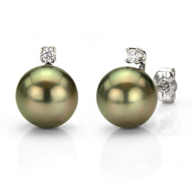 9-10mm Black Tahitian Pearl and Diamond Earrings in 14k White Gold