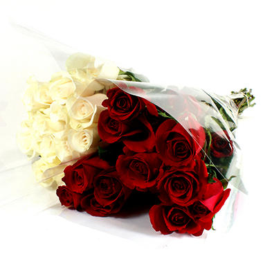 Roses Wedding Pack, Red and White (100 stems)