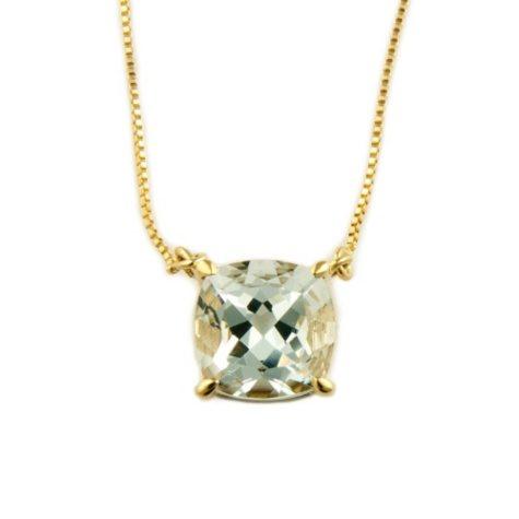 1.53 ct. Cushion-Cut Aquamarine Pendant in 14k Yellow Gold