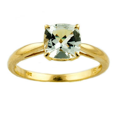 1.53 ct. Cushion-Cut Aquamarine Ring in 14k Yellow Gold