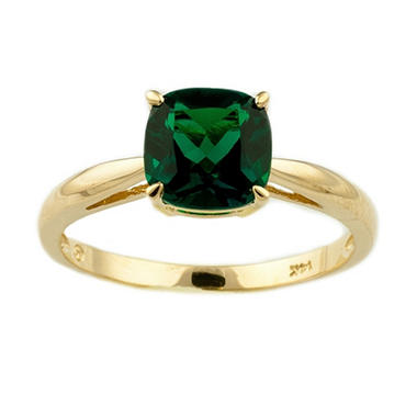 .85 ct. Cushion-Cut Lab-Created Emerald Ring in 14k Yellow Gold