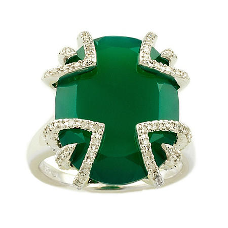 Sweet Karats Green Agate and 0.25 ct. t.w. Diamond Ring